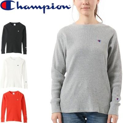 長袖 ワッフル Tシャツ レディース/チャンピオン Champion  刺繍ロゴ 無地   トップス   長袖シャツ    /CW-S413