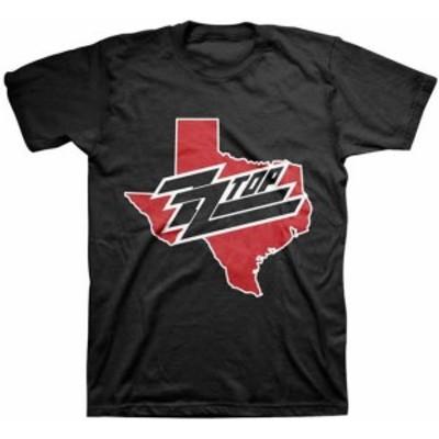 ファッション トップス ZZ Top-Texas Map Logo-Large Black T-shirt