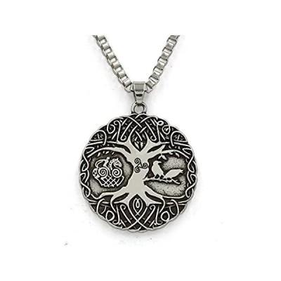 送料無料!ttkp Norse Vikings Knot AmuletネックレスSoldiers Raven Tree of LifeペンダントネックレスNor