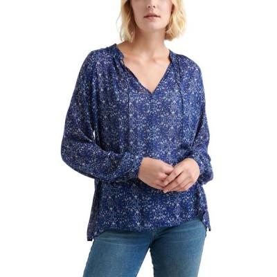 ユニセックス 衣類 トップス Lucky Brand | Printed Peasant Top | Blue ブラウス&シャツ