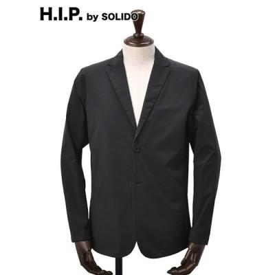 H.I.P. by SOLIDO エイチアイピー 別注メンズナイロンジャケット ストレッチ シャカシャカ シングル2つボタン シングル2ツ釦 ブラック 国内正規品 ブランド