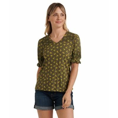 ラッキーブランド シャツ トップス レディース Puff Sleeve V-Neck Embroidered Top Olive Multi