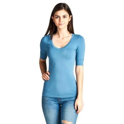 レディース 衣類 トップス Essential Basic Women's Cotton Blend V Neck Tee Shirt Half Sleeves - Denim Blue S Tシャツ
