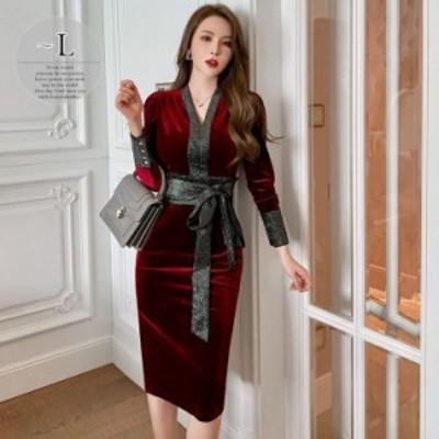 ドレス Vネック ウエストリボン 膝下丈 光沢 デザインボタン 高級 ベルベット 舞台 ママスタイル 二次会 パーティーコーデ 大胆 ステージ