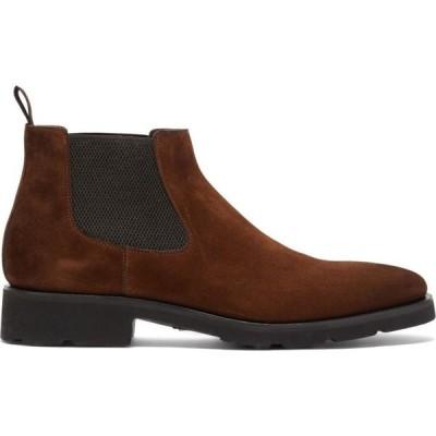 サントーニ Santoni メンズ ブーツ チェルシーブーツ シューズ・靴 Bohemian suede Chelsea boots Brown