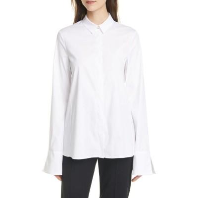アルマーニ EMPORIO ARMANI レディース ブラウス・シャツ トップス French Cuff Stretch Cotton Blend Shirt Optical White