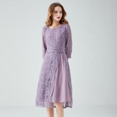 ドレス シフォンドレス ミドルワンピース ワンピ レディース 大きいサイズ ラウンドネック Aライン 七部袖 ひざ丈 ワンピ レディース