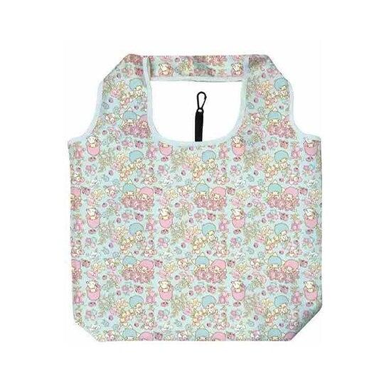 小禮堂 雙子星 折疊尼龍環保購物袋 折疊環保袋 側背袋 手提袋 (藍 花朵) 4930972-51298