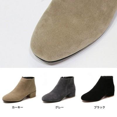 ブーツレディースショートスエードスウェードショートブーツヒールサイドジップ履きやすいスウェード調シューズ靴歩きやすい秋冬軽量