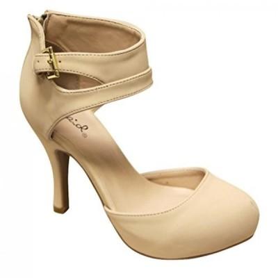 キューピッド レディース パンプス Qupid Trench-244 Women's round toe high heel zip closure buckle ankle straps Nubuck shoes