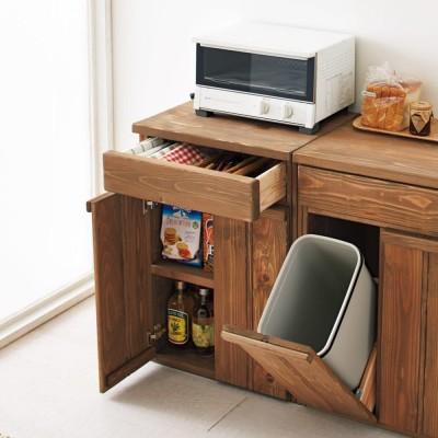 国産杉の頑丈キッチンラックシリーズ 収納庫 幅49cm ダークブラウン