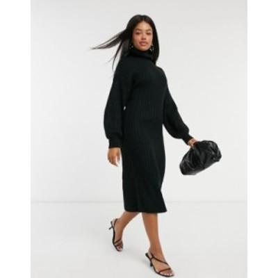 エイソス レディース ワンピース トップス ASOS DESIGN midi rib dress with cowl neck in black Black