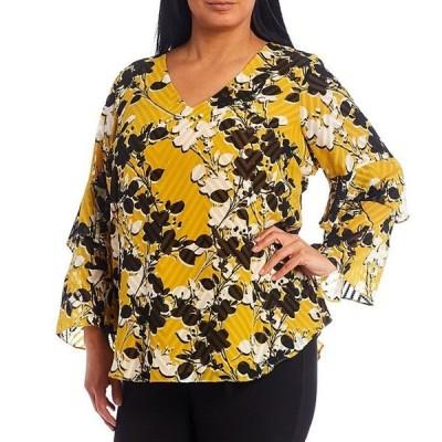 カルバンクライン レディース シャツ トップス Plus Size Floral Print Clip Jacquard Chiffon V-Neck Long Tiered Ruffle-Sleeve Top