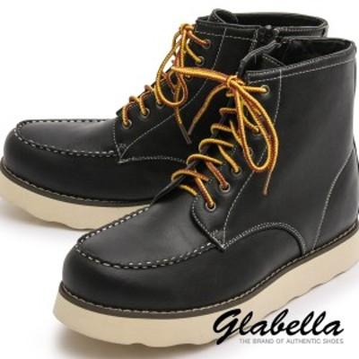 シークレットブーツ レースアップ サイドジップ 身長アップ メンズ ワークブーツ 靴 くつ シューズ(ブラック黒) glbb055