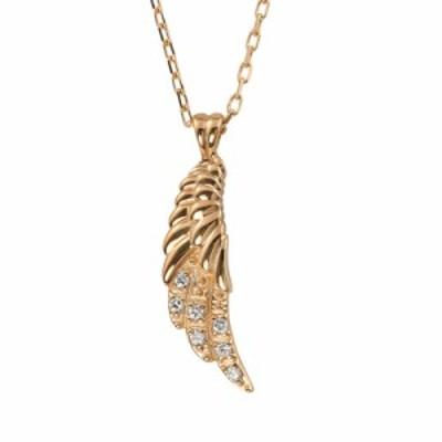 フェザー ネックレス ダイヤモンド 羽 レディース 10金 ペンダント K10 アズキチェーン 40cm 羽根 シンプル 大人 上品 オリジナル 人気