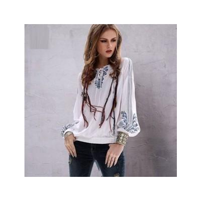 ディース 刺繍入り綿麻製長袖シャツ エスニック系 プルオーバートップス 新作MPYA122
