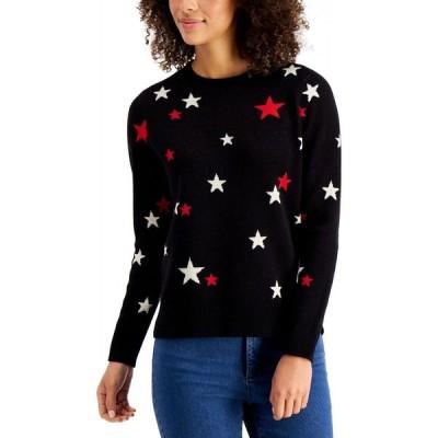 チャータークラブ Charter Club レディース ニット・セーター トップス Metallic Star-Print Sweater Deep Black Combo