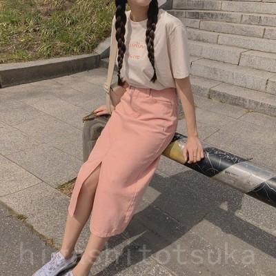 Tシャツ 半袖 レディース 半袖Tシャツ ロゴ 英字 シンプル かわいい 夏 ベージュ ピンク 韓国ファッション メール便