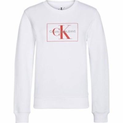 カルバンクライン Calvin Klein Jeans レディース スウェット・トレーナー トップス Mono Logo Box Crew Sweatshirt Bright White
