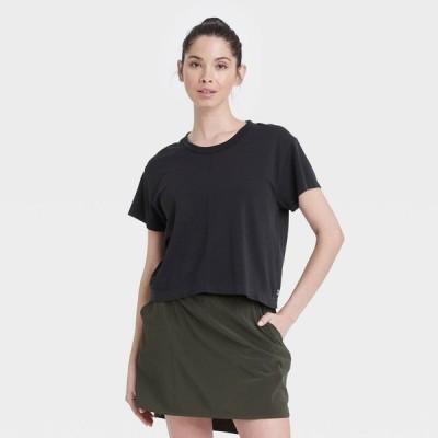 オールインモーション All in Motion レディース ベアトップ・チューブトップ・クロップド Tシャツ Seamless Boxy Cropped Short Sleeve T-Shirt - Black