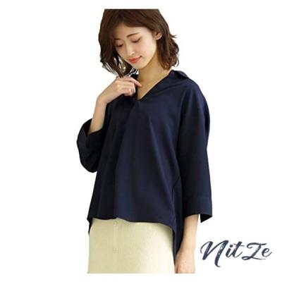 [アドティエ] 襟付き タックスキッパーシャツ レディース シャツ ブラウス トップス オープンカラー7分丈 ゆ