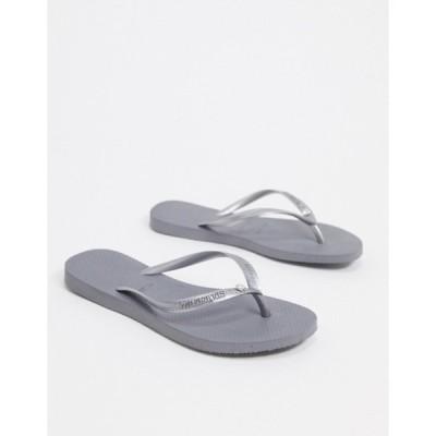 ハワイアナス レディース サンダル シューズ Havaianas slim crystal flip flops in gray