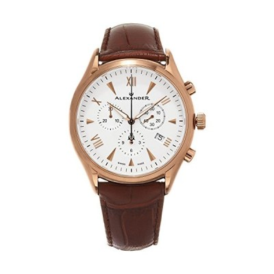 Alexander Heroic Pella Men's Multi-Function Chronograph Brown Leather Strap Rose Gold Plated Swiss Made Watch A021-04 並行輸入品
