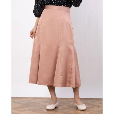 ペルルペッシュアウトレット Perle Peche outlet カラーサテンマーメイドスカート (ピンク)