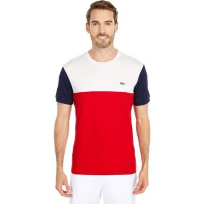 ラコステ Lacoste メンズ Tシャツ トップス Short Sleeve Striped 'Color-Block' T-Shirt Red/Flour/Navy Blue
