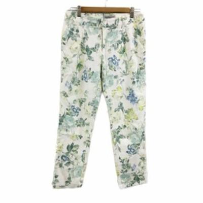 【中古】リランドチュール パンツ テーパード ロング 花柄 リネン混 2 白 緑 ホワイト グリーン レディース