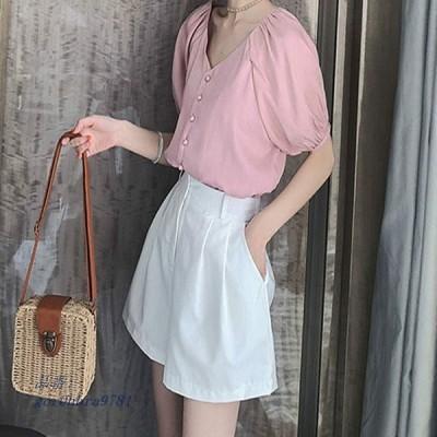レディース XL おしゃれ ブラウス トップス L 半袖 3XL ピンク パンプキンスリーブ きれいめ ショートシャツ 大きい 4XL ホワイト Vネック 2XL M