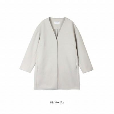 ダンボールニットVネックノーカラーコート【LL―5L】(フルールバイミントブリーズ/fleur by mint breeze)