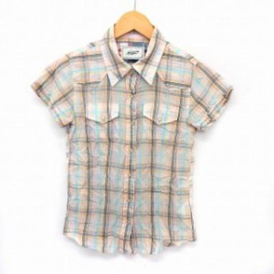 【中古】HONEYSUCKLE ROSE ハニーサックルローズ シャツ 半袖 チェックシャツ ステンカラー ポケット S マルチカラー