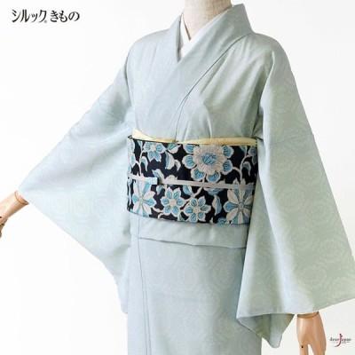 シルック着物 更紗 水色 シンプル シック モダン 袷 洗える着物 シルックデュエット 仕立て上がり カジュアル レディース ポリエステル JAPAN MODE