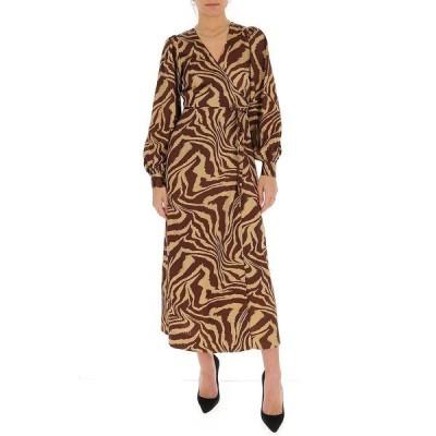 ガニー レディース ワンピース トップス Ganni Tiger Swirl Print Wrap Dress -