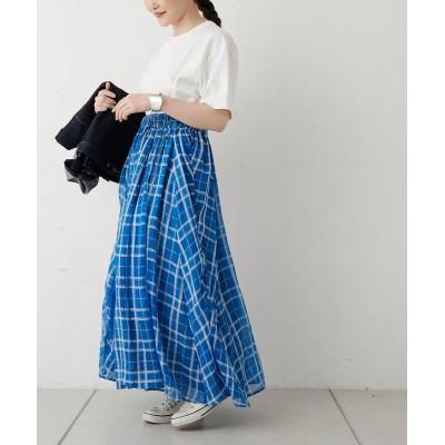 《カタログ掲載》WEB限定:グリーン チェック柄リバーシブルスカート