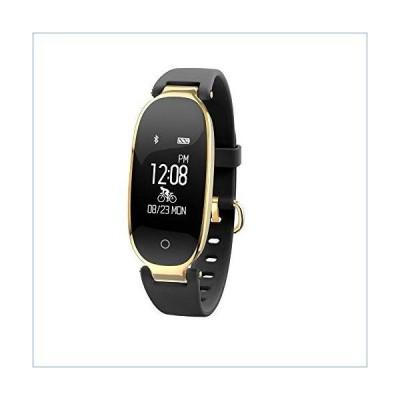 Sports Waterproof Bluetooth Wear Pedometer Health Smart Bracelet Smartwatch (Black Gold)並行輸入品