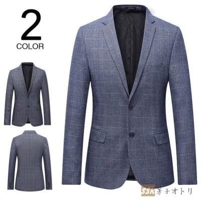 スーツジャケット紳士服メンズはおり結婚式テーラードジャケットビジネスオールシーズンチェック柄パーティー