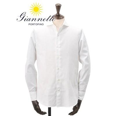 ジャンネット GIANNETTO イタリアブランド メンズ 長袖カジュアルシャツ バスケット織り ワッフルコットン ホワイト  セミワイド