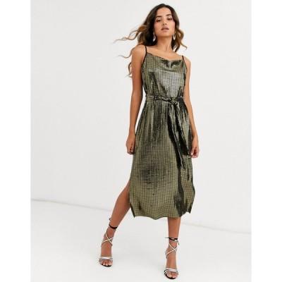 ヤス ミディドレス レディース Y.A.S metallic sleeveless wrap dress with tie waist エイソス ASOS