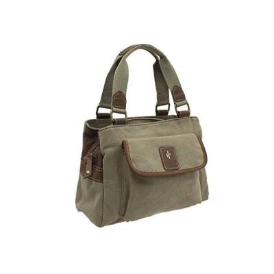 Cactus Canvas And Distressed Oiled Leather Grab Bag 822_81 Khaki 並行輸入品