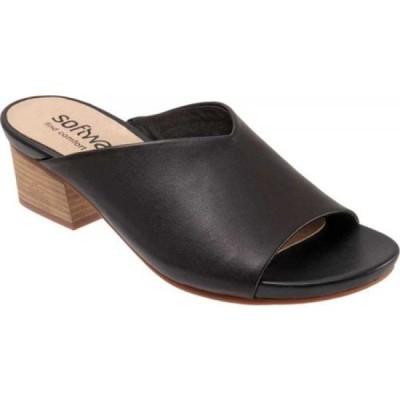ソフトウォーク SoftWalk レディース サンダル・ミュール シューズ・靴 Parker Block Heel Slide Black Full Grain Leather