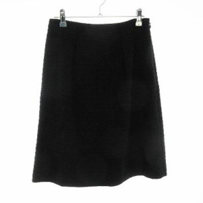 【中古】リフレクト Reflect スカート フレア ひざ丈 総柄 9 黒 ブラック /CK レディース
