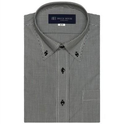 ブリックハウス(BRICKHOUSE)/形態安定 ノーアイロン 半袖ワイシャツ ボタンダウン 白×黒チェック