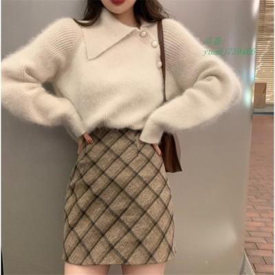ポロ セーター モヘア アンゴラ風 大人 原宿 ニット きれいめ ファッション レディース NI セーター 30代 オルチャン ストリート 韓国 40代
