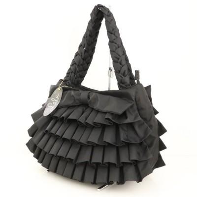 ラル LALU ブラック フリル リボン キャンバス ハンドバッグ 2way 黒 鞄 ショルダー 斜め掛け 肩掛け レディース 【pa】【中古】