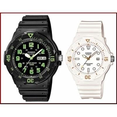 CASIO【カシオ/スタンダード】アナログクォーツ ペアウォッチ 腕時計 ラバー ブラック/ホワイト 海外モデル MRW-200H-3B/LRW-200H-7E2(
