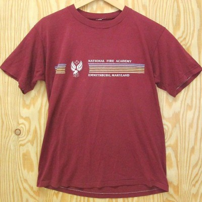 OLD古着 Tシャツ NATIONAL FIRE ACADEMY ワインレッド アメリカ古着 メリーランド えんじ色
