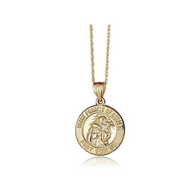 特別価格AVORA 10K Yellow Gold Saint Francis of Assisi Religious Medal Pendant Neckl好評販売中