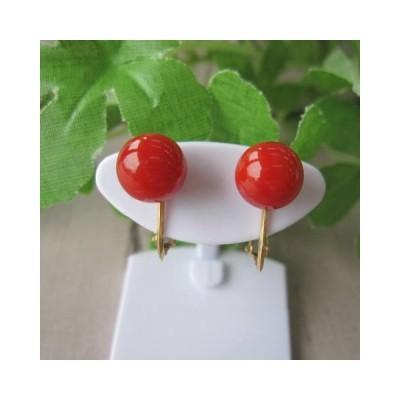 高知産赤珊瑚のイヤリング(7.9ミリ玉)/K18/『宝石サンゴ』